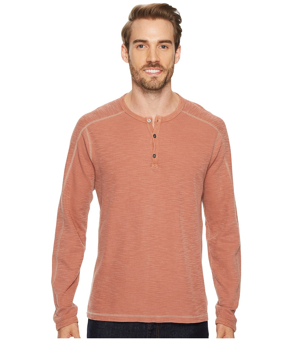 Agave Denim Riptide Long Sleeve Henley Slub Thermal (Burnt Henna) Men's Long Sleeve Pullover
