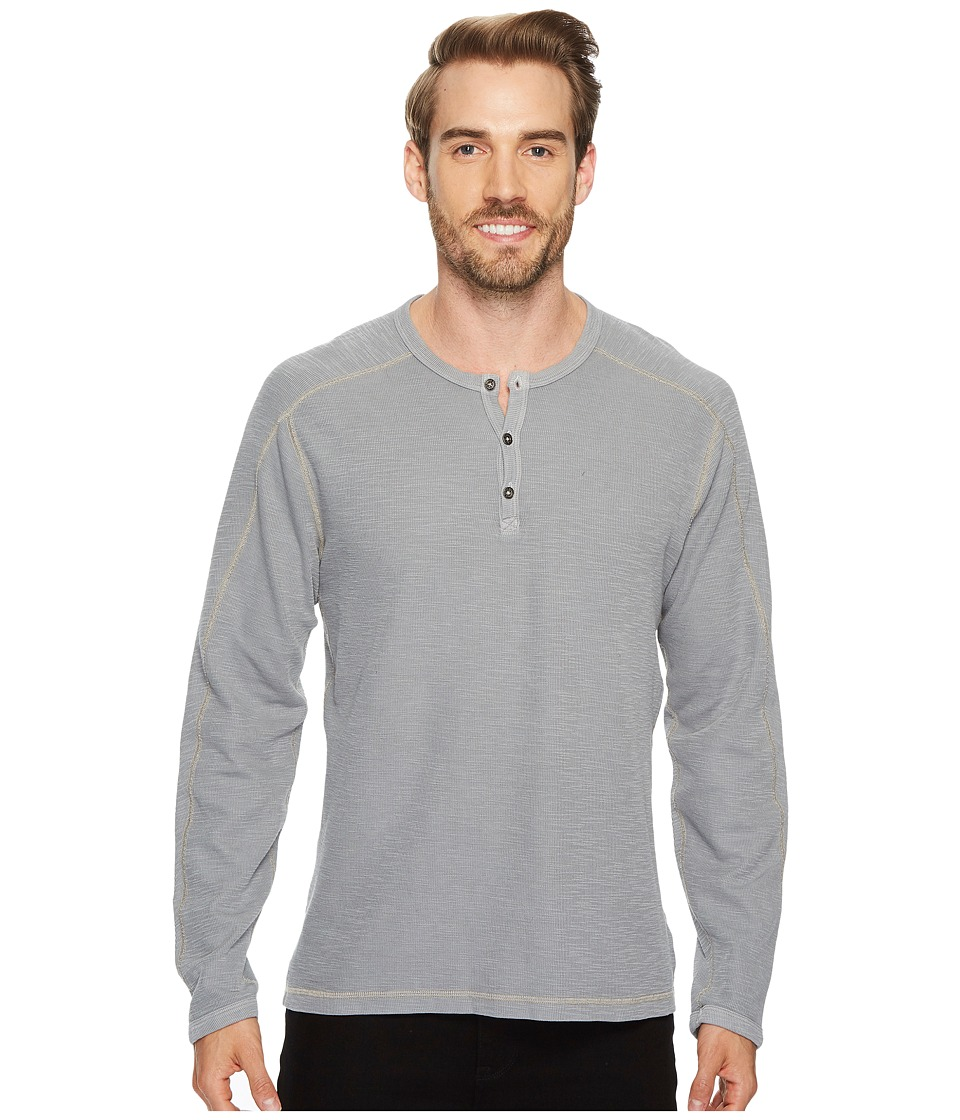 Agave Denim Riptide Long Sleeve Henley Slub Thermal (Gunmetal) Men's Long Sleeve Pullover