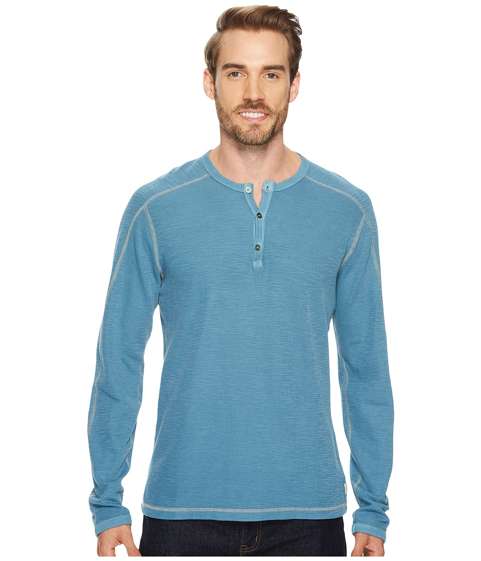 Agave Denim Riptide Long Sleeve Henley Slub Thermal (Legion Blue) Men's Long Sleeve Pullover