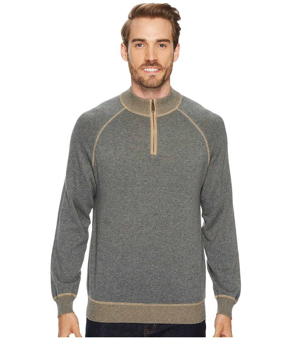Agave Denim Victory at Sea Long Sleeve 1/4 Zip 12GG Sweater (Gunmetal) Men's Long Sleeve Pullover