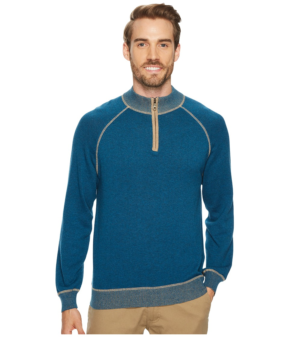 Agave Denim Victory at Sea Long Sleeve 1/4 Zip 12GG Sweater (Legion Blue) Men's Long Sleeve Pullover