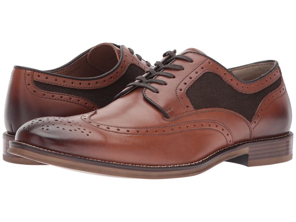 Johnston & Murphy - Grayson Linen Wingtip (Brown) Men's Shoes