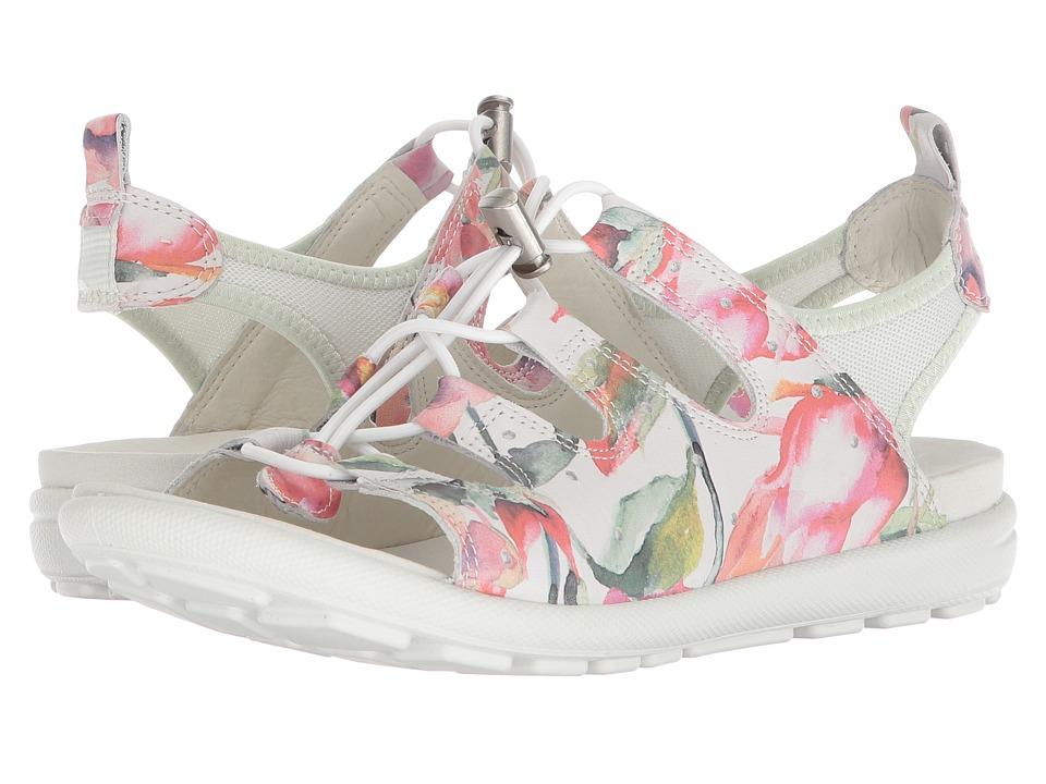 ECCO Jab Toggle Sandal (White Floral Print/White/Powder) Women