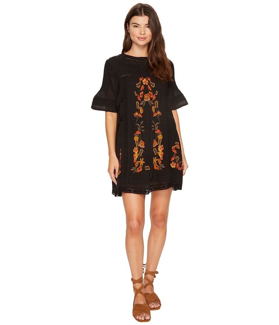 Free People - Victorian Mini Dress (Black Combo) Women's Dress