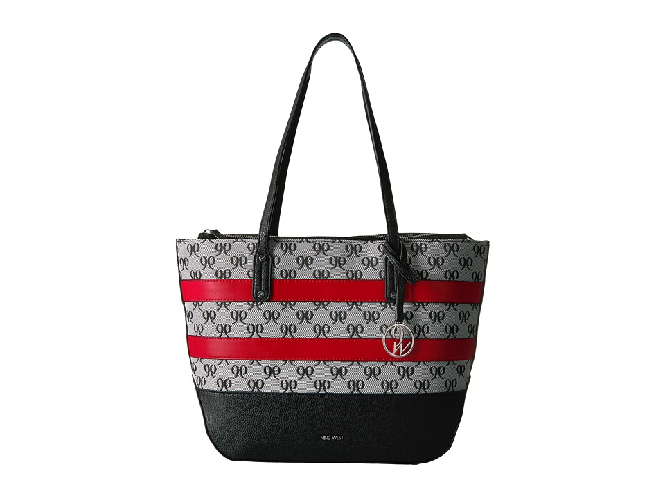 Nine West - Reana Tote (Black/White/Dynasty Red) Tote Handbags