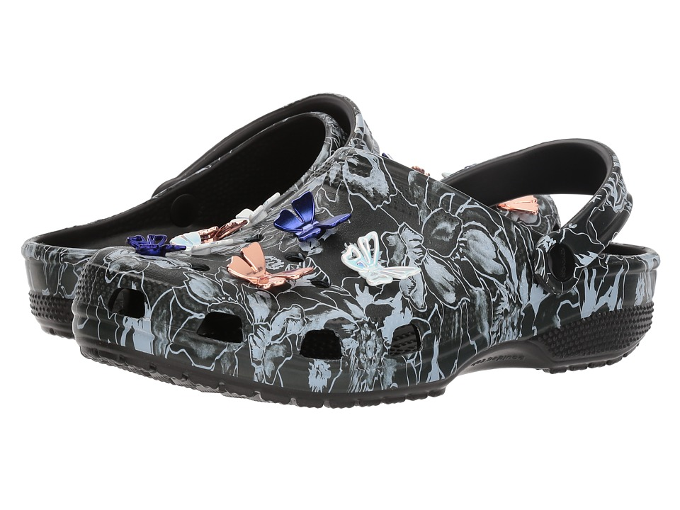Crocs Classic Botanical Butterfly Clog (Black) Shoes