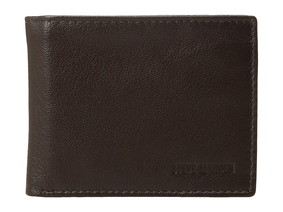 Steve Madden - Smooth Leather RFID Blocking Passcase Wallet (Brown) Wallet Handbags