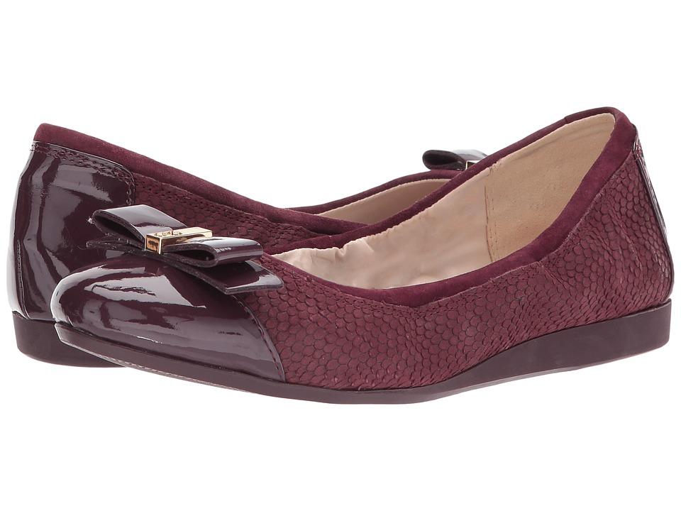 Cole Haan - Elsie Ballet II (Fig Embossed Suede/Leather) Women's Slip on Shoes