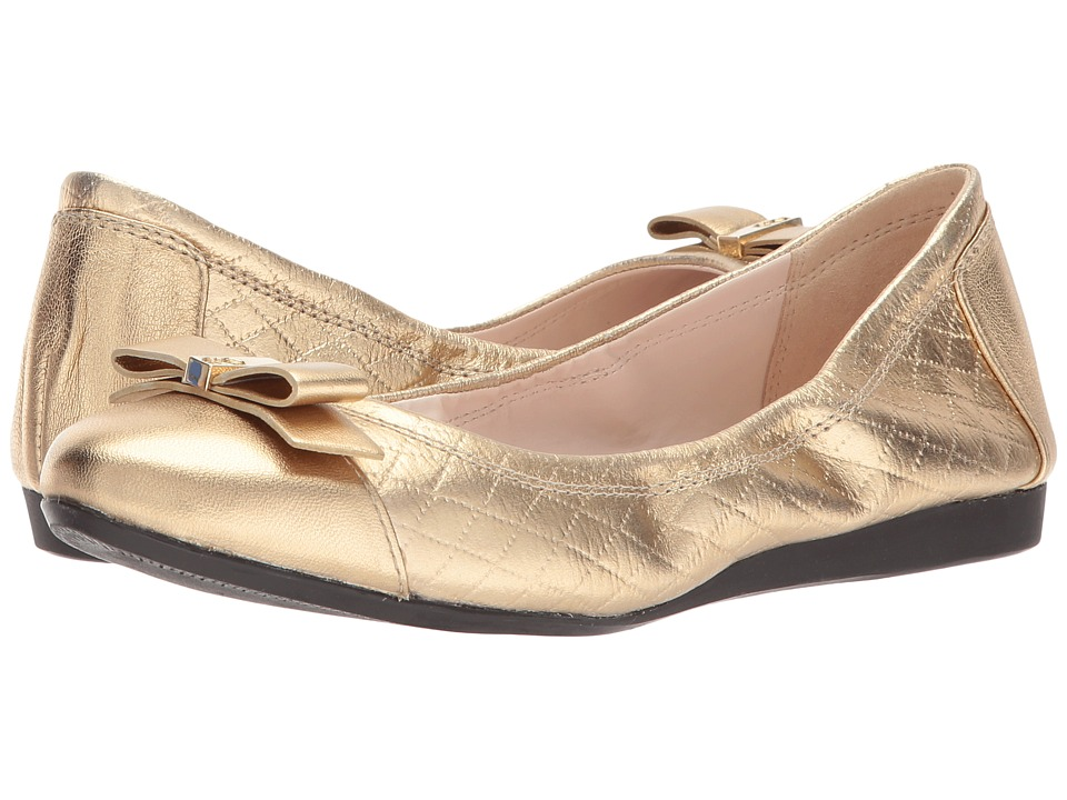 Cole Haan - Elsie Ballet II (Antique Gold Metallic Quilted Print) Women's Slip on Shoes
