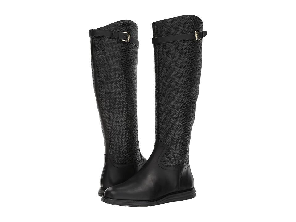 Cole Haan Original Grand Tall Boot (Black Weave/Black Leather) Women