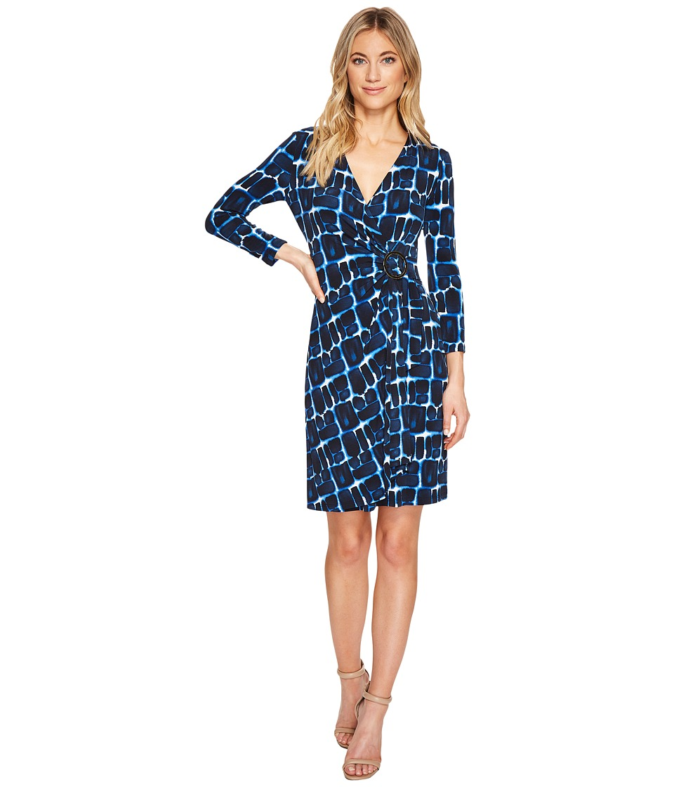 Calvin Klein Printed 3/4 Sleeve Dress with Hardware Detail On Side CD7A2474 (Regatta Multi) Women