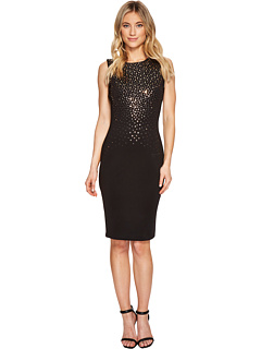 Mirrored Embellishment Details Scuba Sheath Dress Cd7 M185 R by Calvin Klein