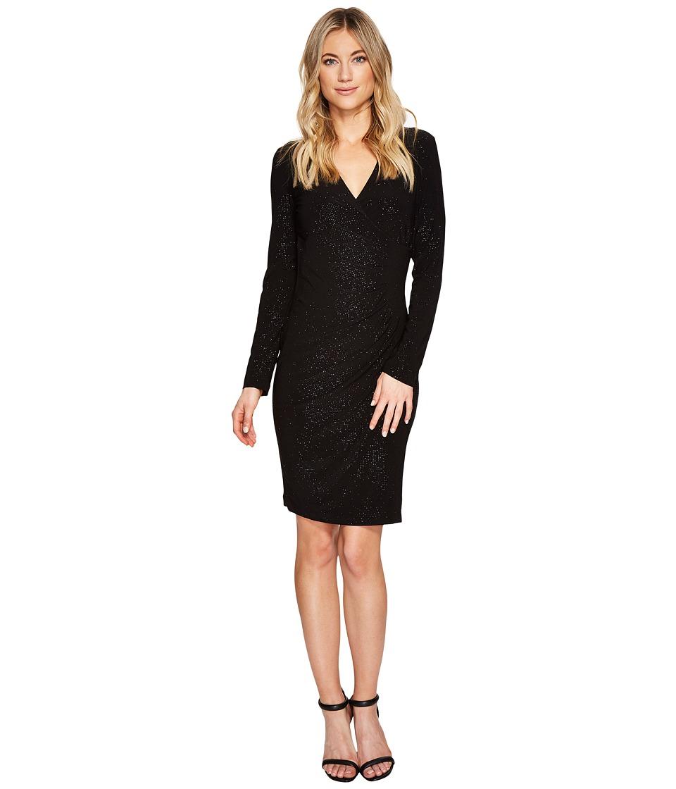 Calvin Klein - Sparkle Mock Wrap Dress CD7ANTDE (Black) Women's Dress