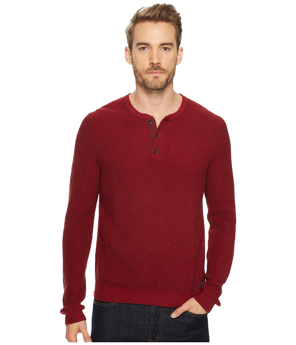 Lucky Brand Stitch Henley Sweater (Red Multi) Men