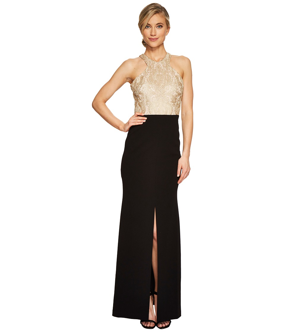 Calvin Klein Halter Neck Lace Bodice Gown CD7B277B Gold-Black Dress