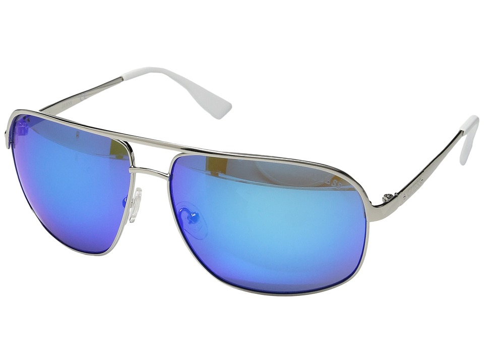 GUESS - GF5000 (Shiny Light Nickeltin/Blue Mirror) Fashion Sunglasses