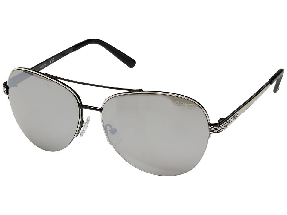 GUESS - GF6008 (Black/Other/Smoke Mirror) Fashion Sunglasses