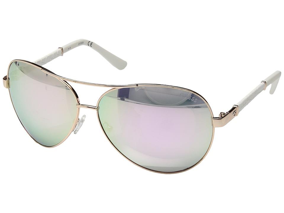 GUESS - GF6015 (Shiny Rose Gold/Smoke Mirror) Fashion Sunglasses