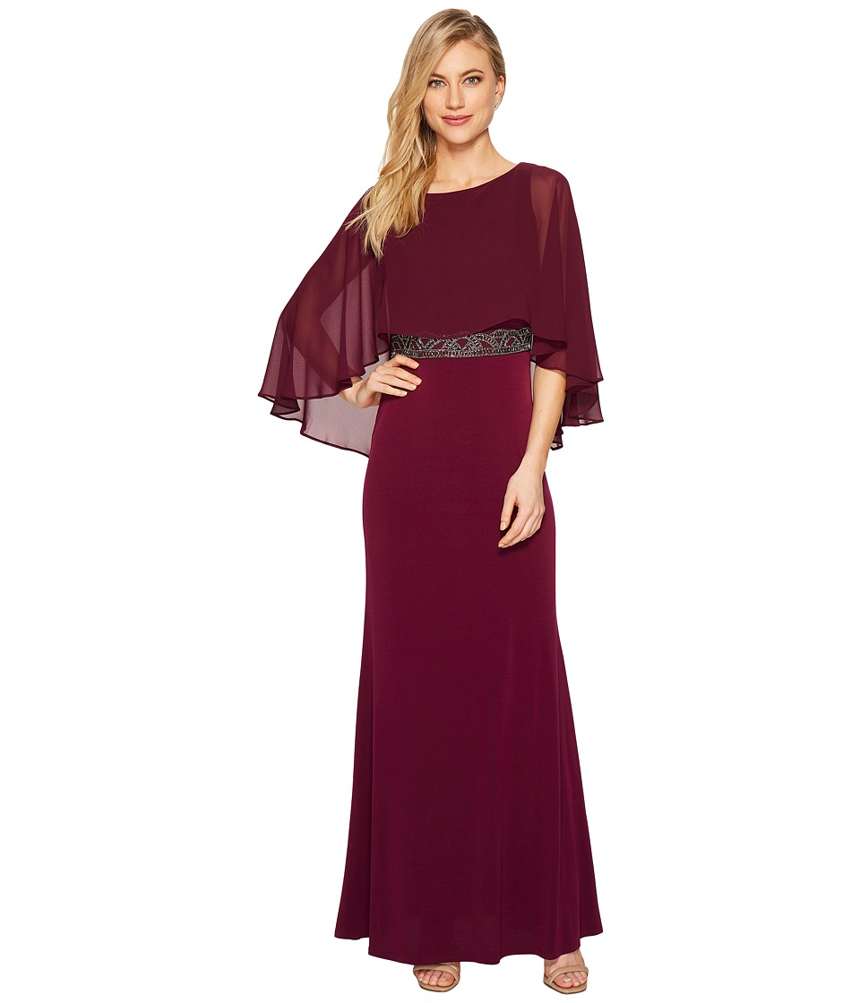 Sangria Capelet Evening Gown with Embellished Waist (Dark Berry) Women