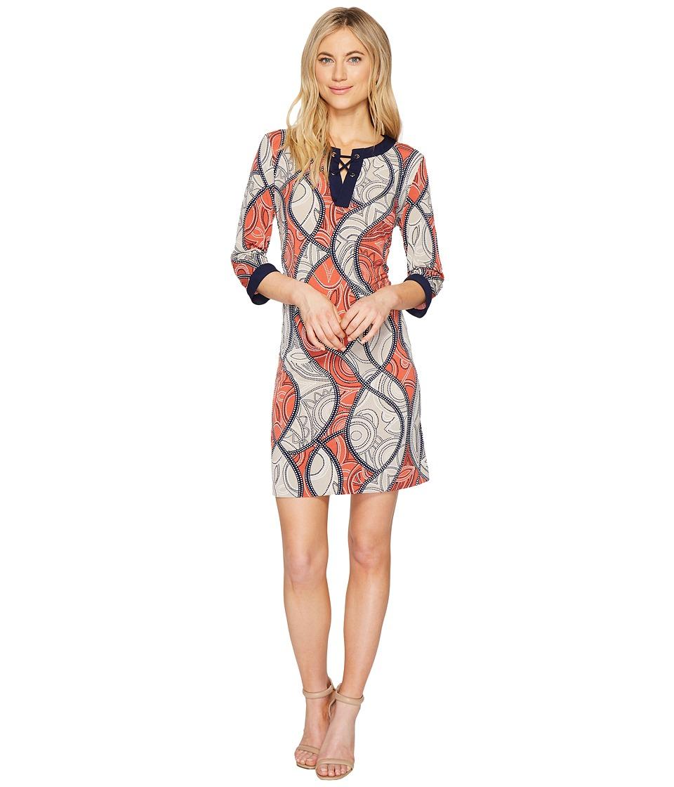 Sangria 3/4 Sleeve Lace Front Puff Print Shift Dress (Terra Cotta) Women