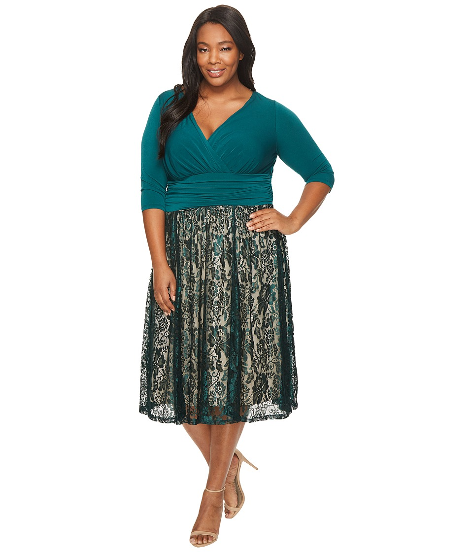Sangria - Plus Size 3/4 Sleeve V-Neck Lace Skirt Fit and Flare Dress (Emerald/Nude) Women's Dress