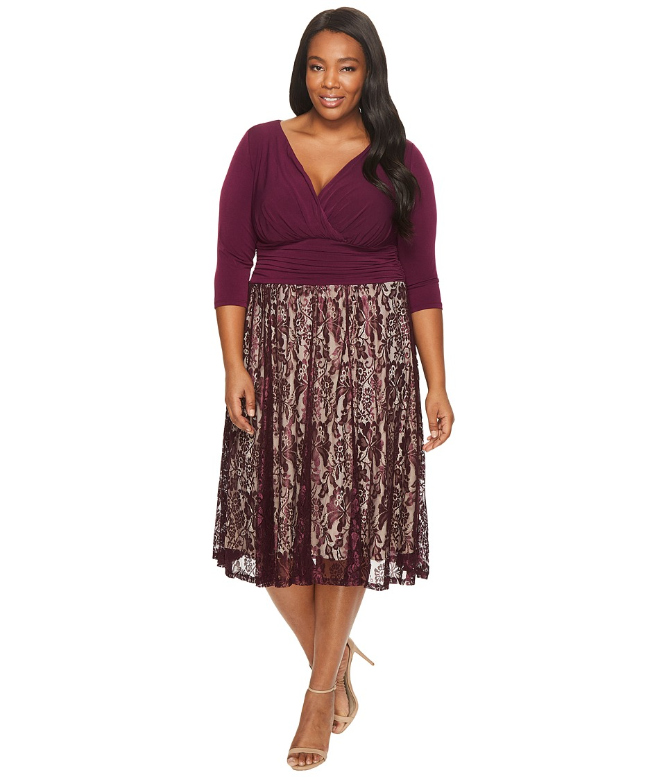 Sangria - Plus Size 3/4 Sleeve V-Neck Lace Skirt Fit and Flare Dress (Dark Berry/Nude) Women's Dress