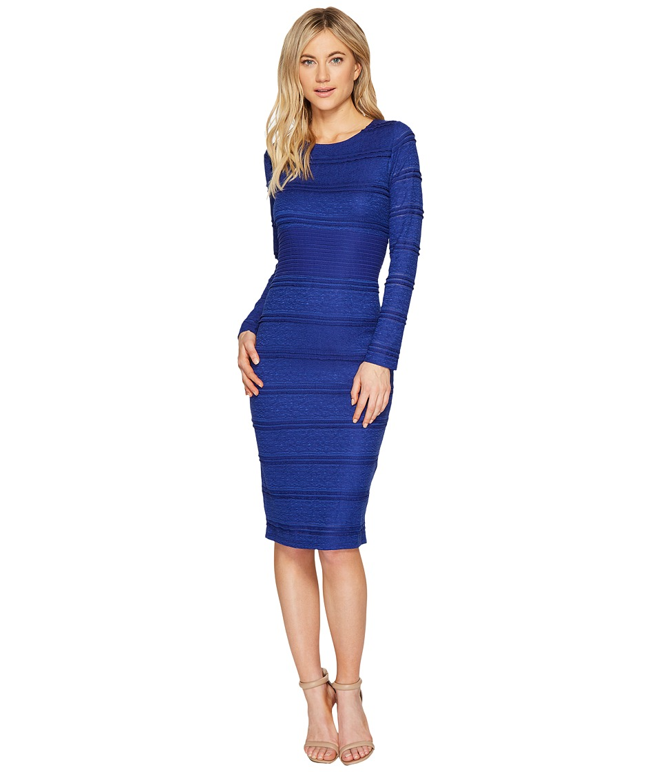 Sangria Long Sleeve Textured Lace Midi Dress (Cobalt) Women