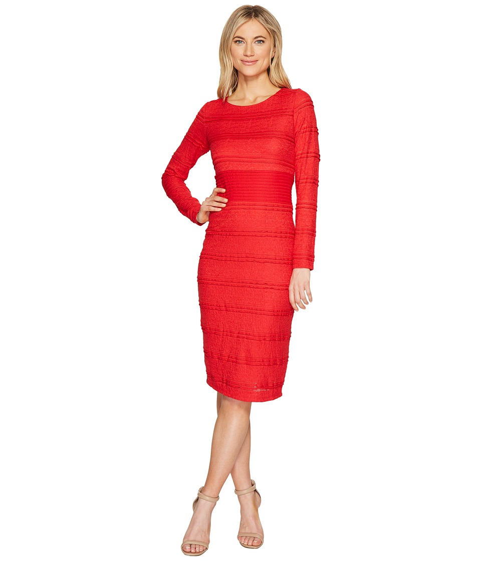 Sangria - Long Sleeve Textured Lace Midi Dress (Fierce Red) Women's Dress