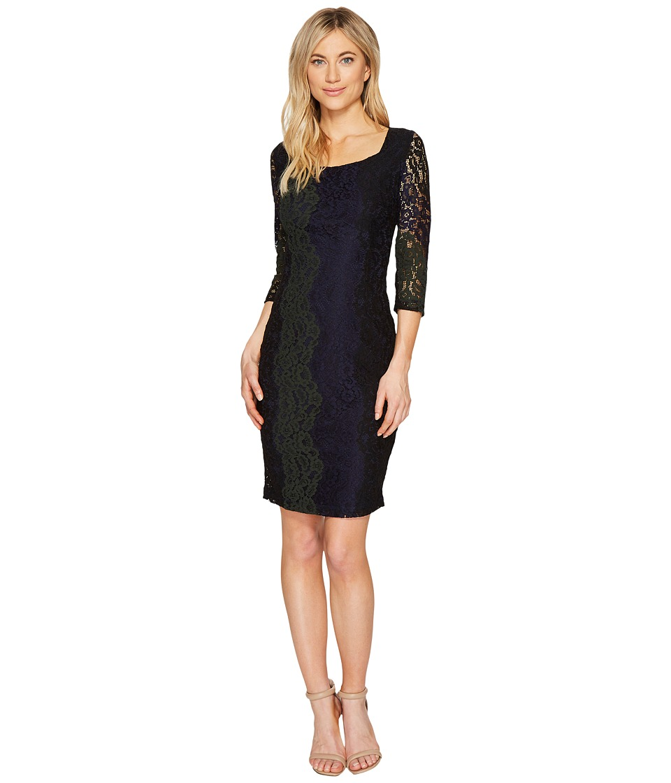 Sangria 3/4 Sleeve Tri Color Stretch Lace Sheath Dress (Multi) Women
