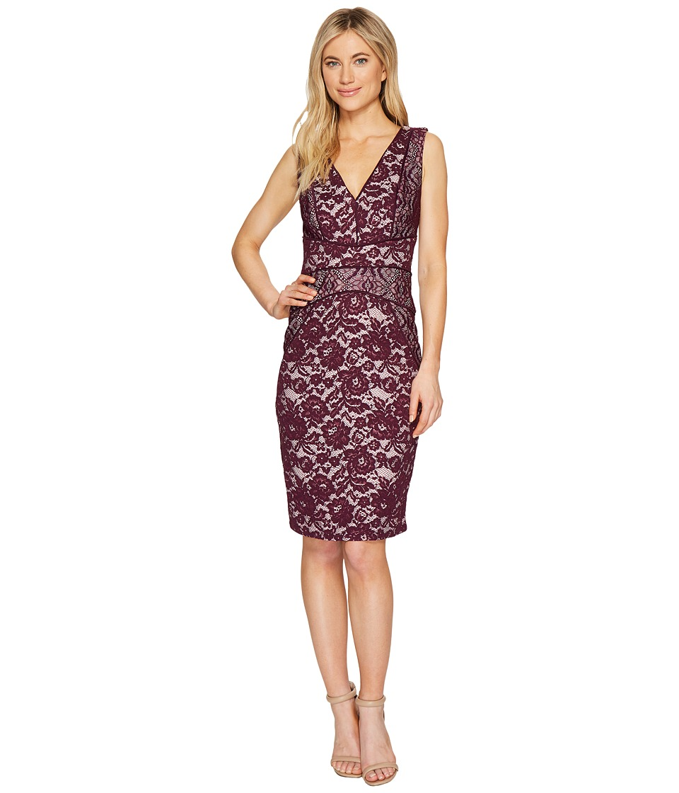 Sangria V-Neck Lace Piping Detail Sheath Dress (Dark Berry) Women
