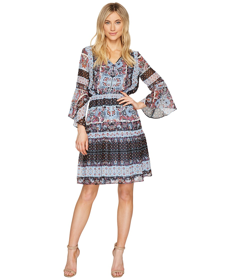 Sangria - Sleeve Detail Boho Print Fit and Flare Dress (Multi) Women's Dress