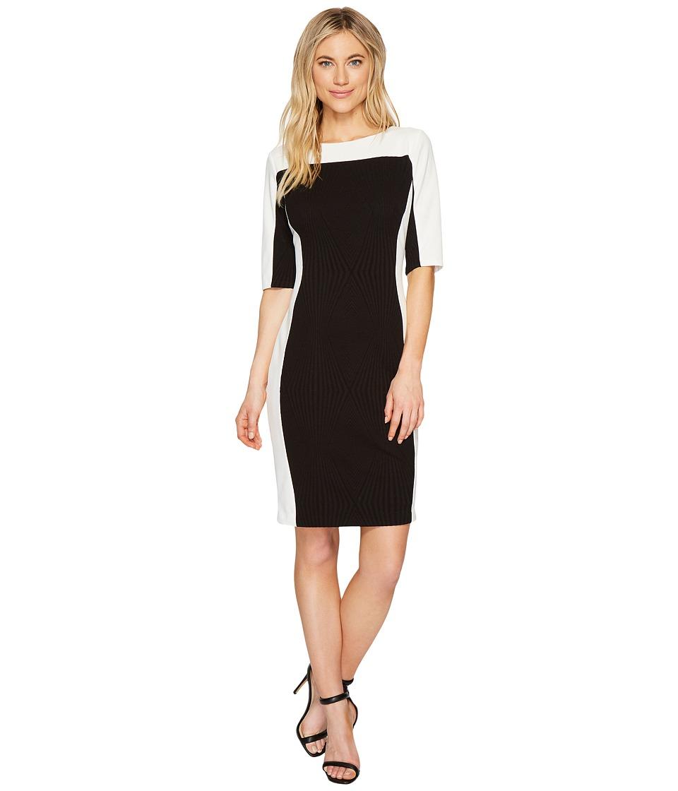 Sangria 3/4 Sleeve Textured Knit Sheath Dress (Black/Ivory) Women