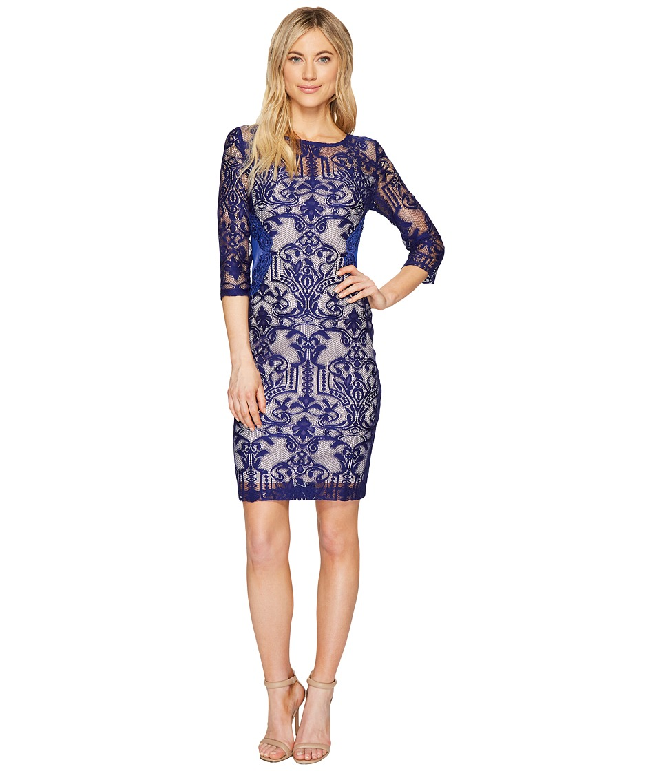 Sangria - 3/4 Sleeve Lace with Side Panel Detail Sheath Dress (Cobalt) Women's Dress
