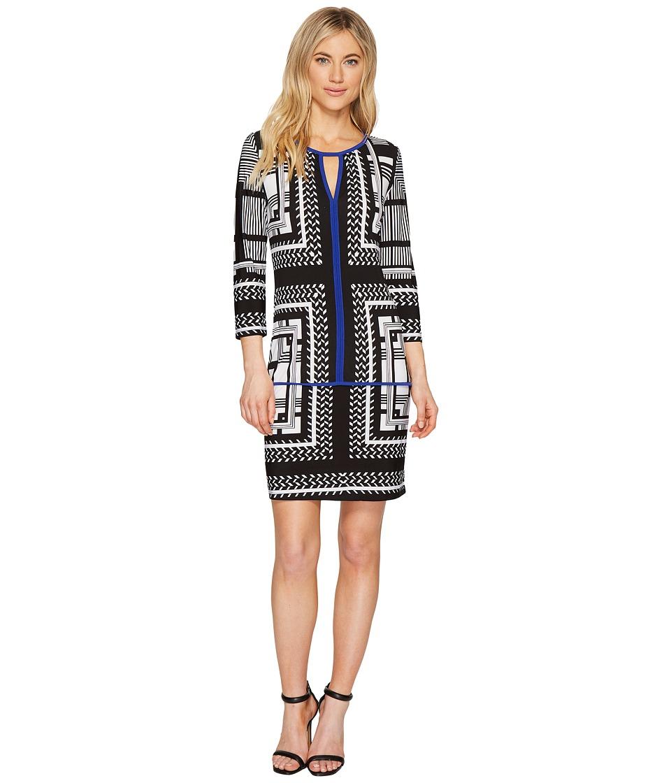 Sangria - 3/4 Sleeve Geo Print Shift Dress (Black/Ivory) Women's Dress