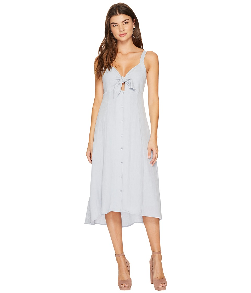 ASTR the Label Tie Front Linen Midi Dress (Light Blue) Women