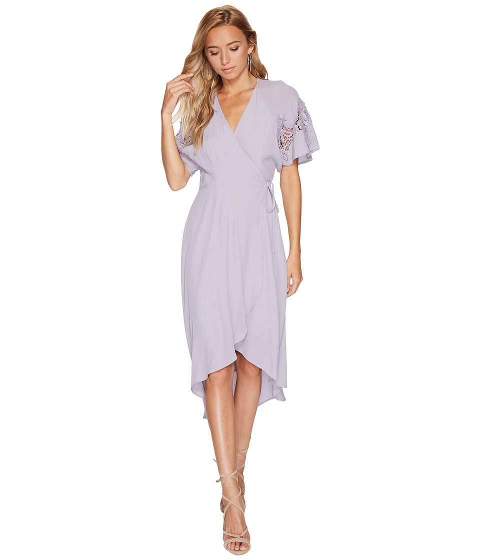ASTR the Label Crochet Patch Sleeveless Wrap Dress (Dusty Lavender) Women