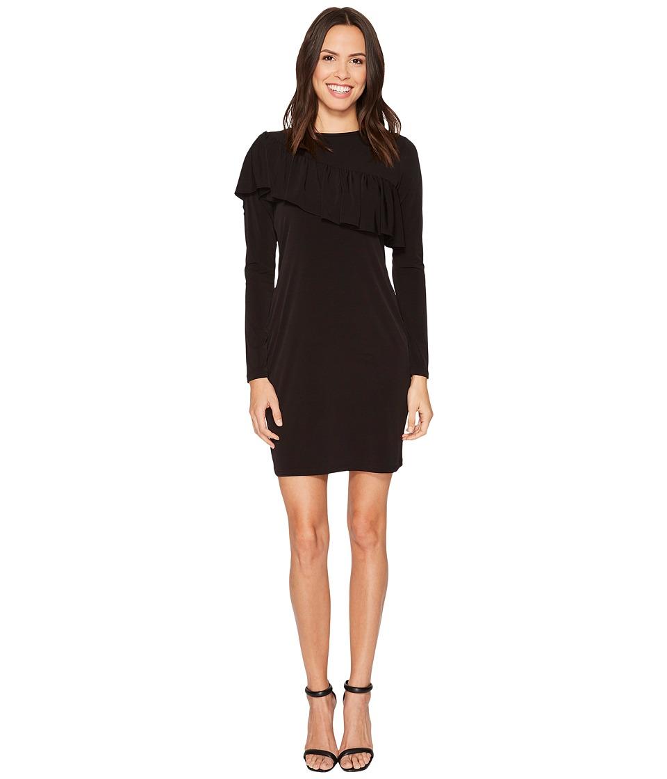 MICHAEL Michael Kors Asymmetrical Ruffle Long Sleeve Tee Dress (Black) Women