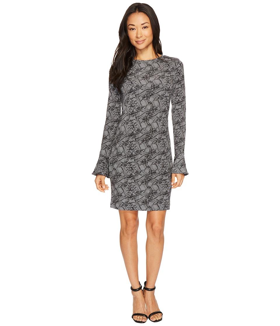 MICHAEL Michael Kors Floral Mesh Flounce Dress (Black/White) Women