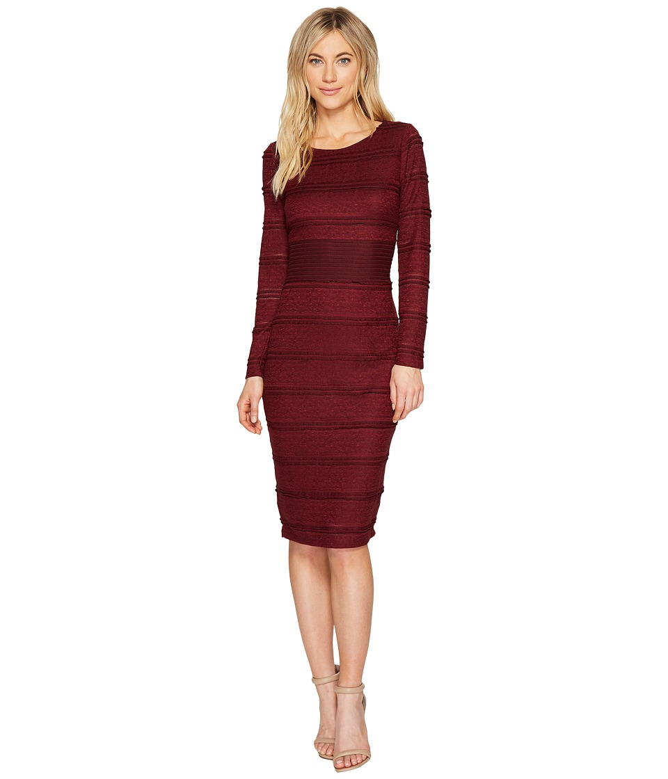 Sangria - Long Sleeve Textured Lace Midi Dress (Burgundy) Women's Dress
