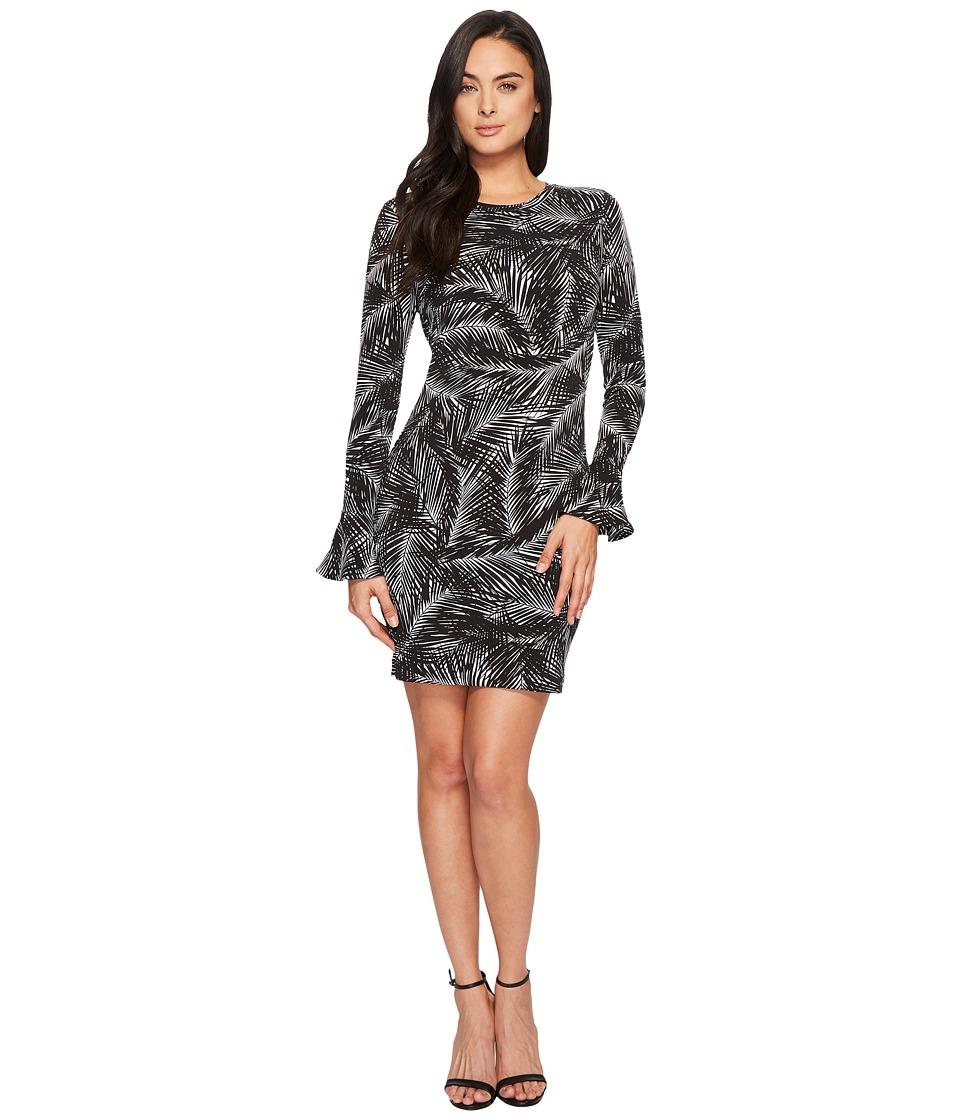 MICHAEL Michael Kors Abstract Palm Flounce Dress (Black/White) Women