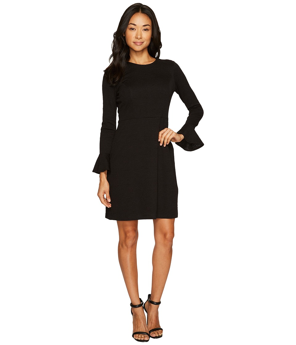 London Times - Petite Long Sleeve Bell Cuff Fit Flare Dress (Black) Women's Dress