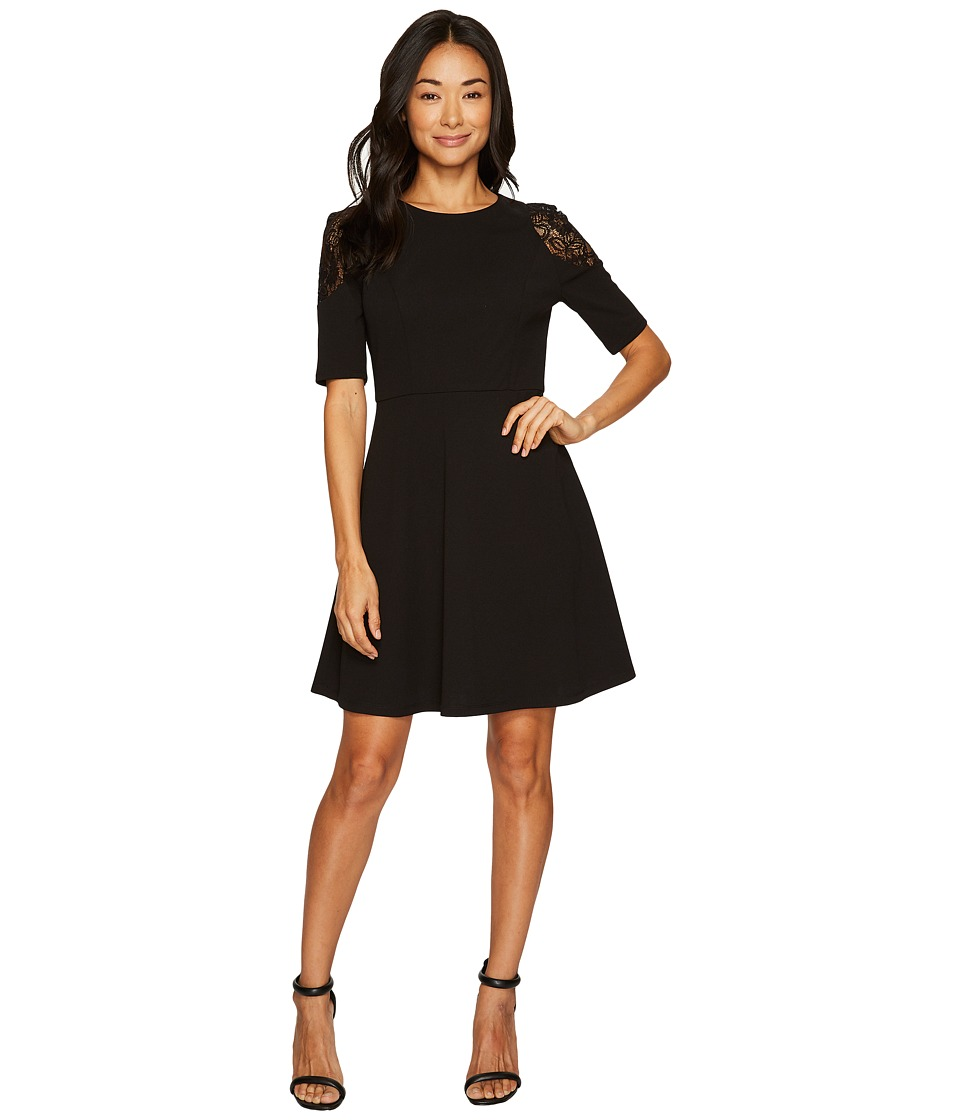 London Times - Petite Elbow Sleeve w/ Lace Cold Shoulder Fit Flare (Black) Women's Dress