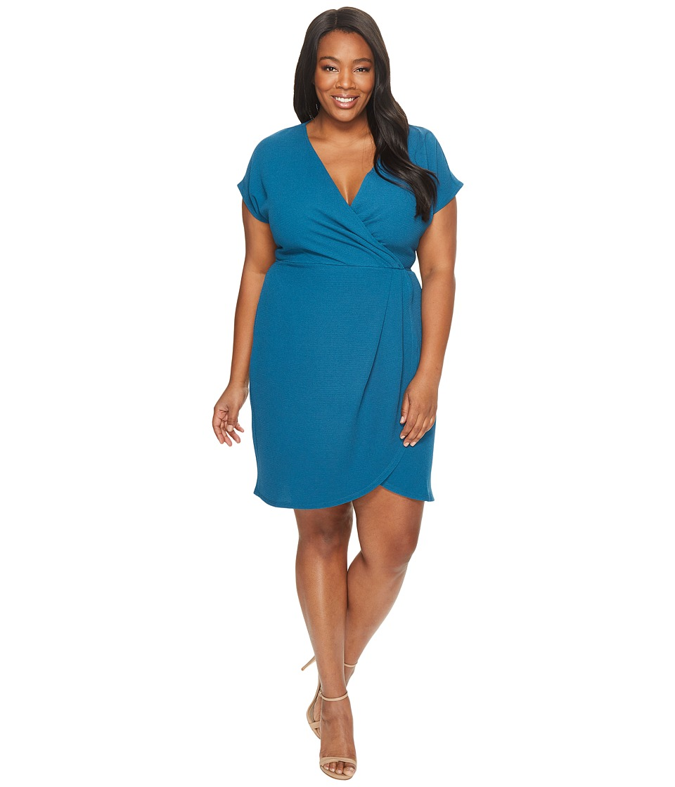 London Times - Plus Size Drop Sleeve Wrap Dress Tulip Hem (Harbor Blue) Women's Dress
