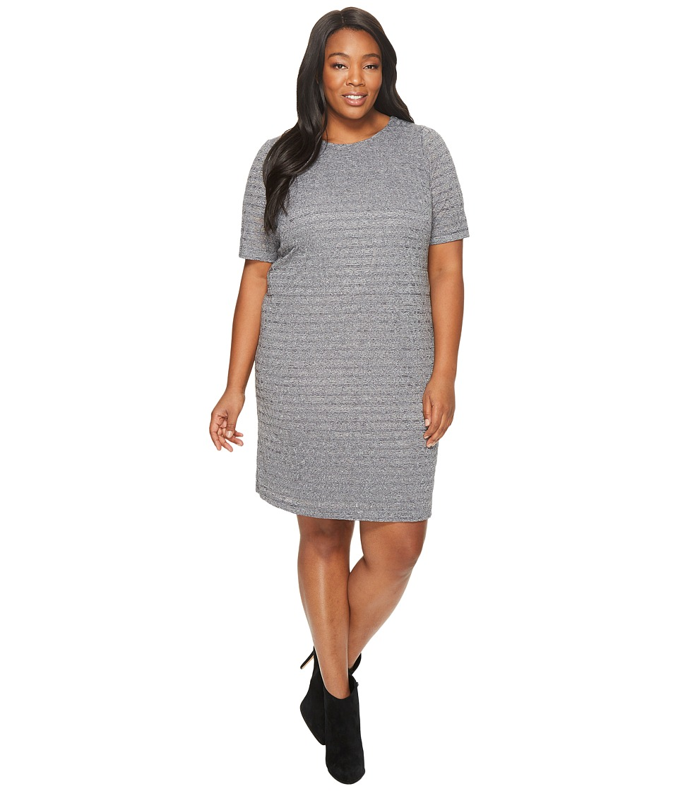 London Times - Plus Size Aztec Tile Burnout Shift (Grey) Women's Dress