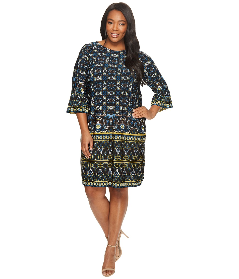 London Times - Plus Size Shift with Flounce Sleeve Hem (Black/Blue) Women's Dress