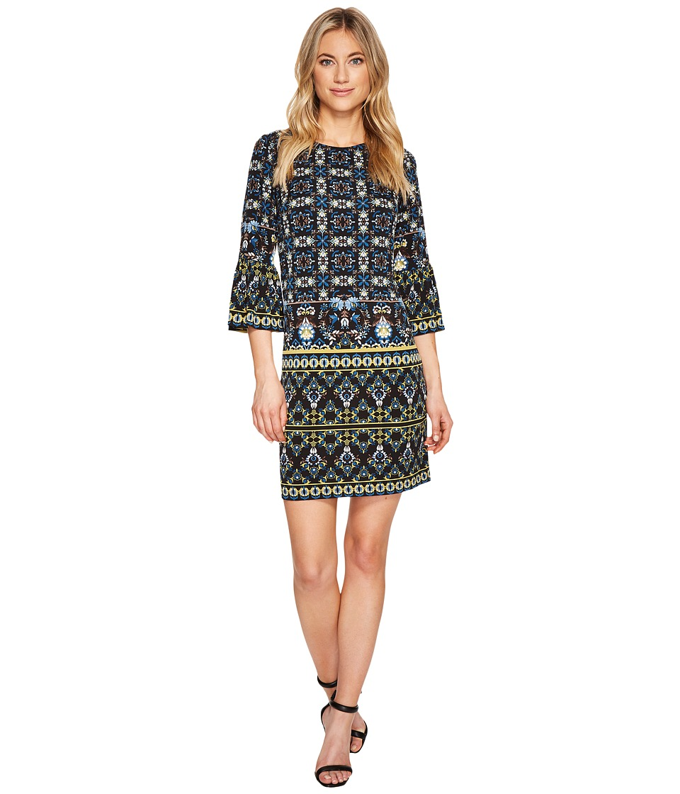 London Times - Shift with Flounce Sleeve Hem (Black/Blue) Women's Dress