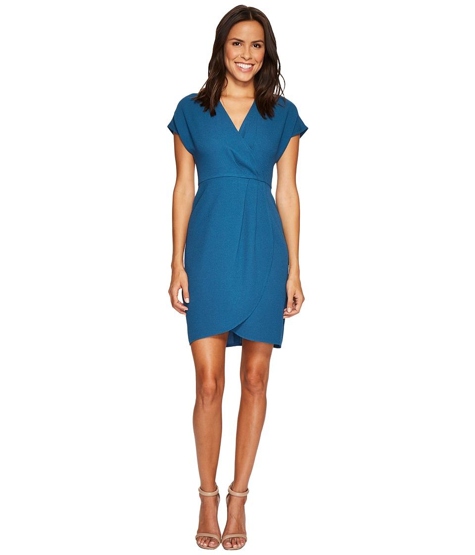 London Times - Drop Sleeve Wrap Dress Tulip Hem (Harbor Blue) Women's Dress