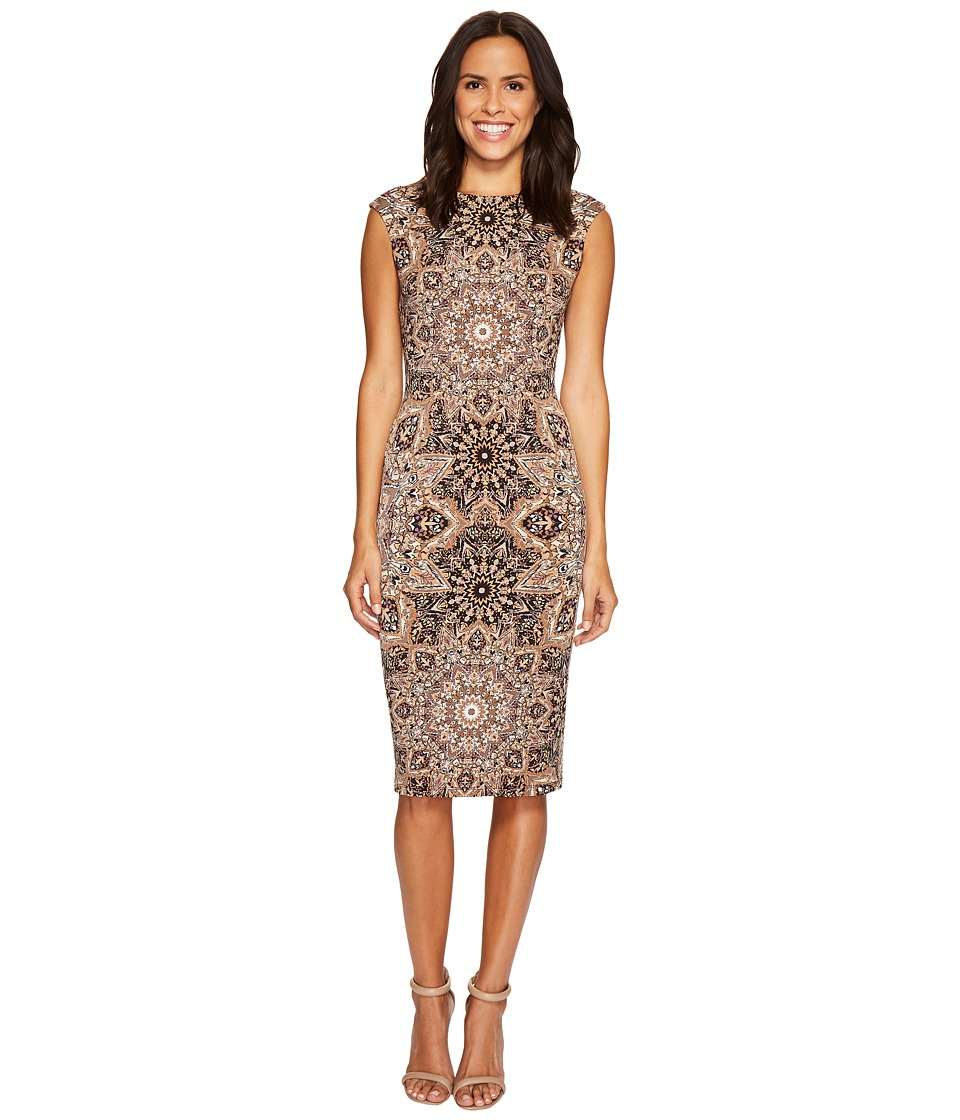 London Times - Puzzle Disc Cap Sleeve Midi Sheath (Taupe) Women's Dress