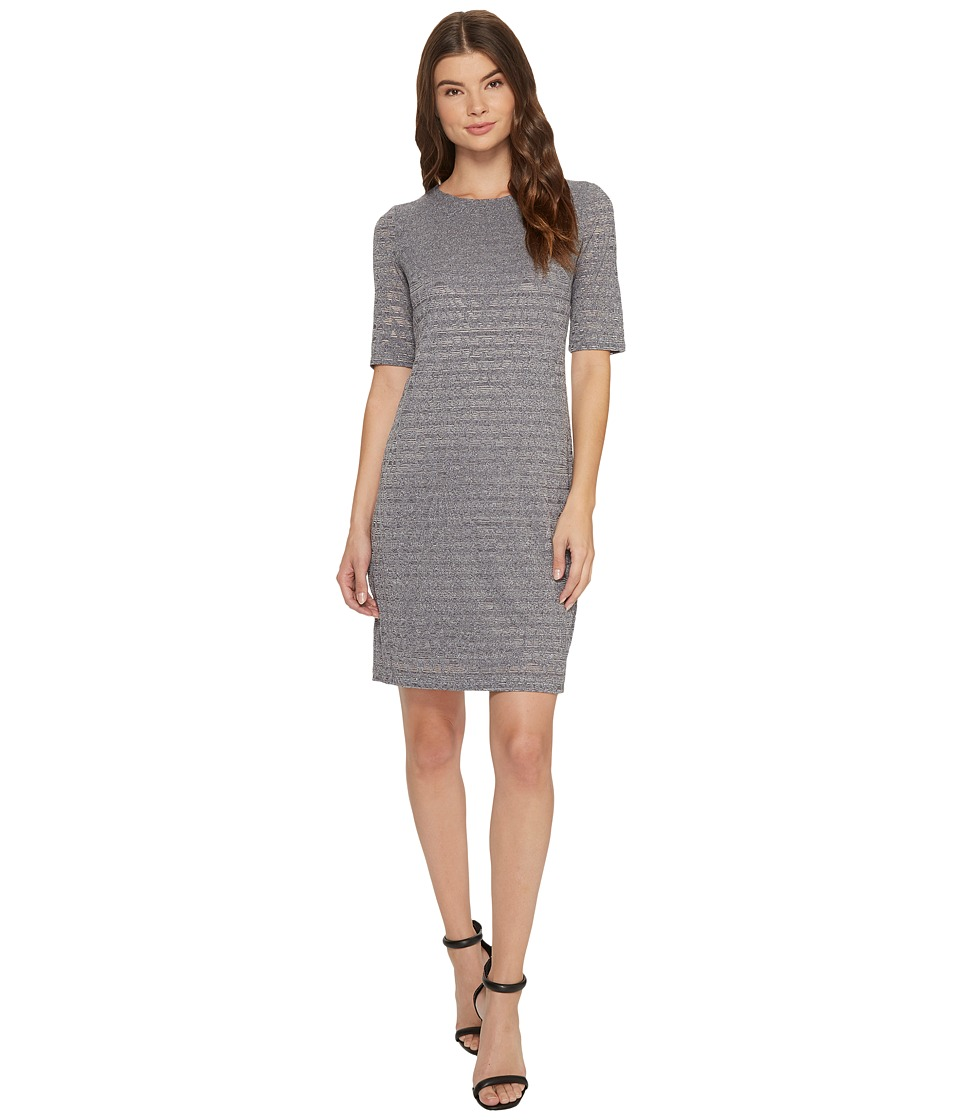 London Times - Aztec Tile Burnout Shift (Grey) Women's Dress