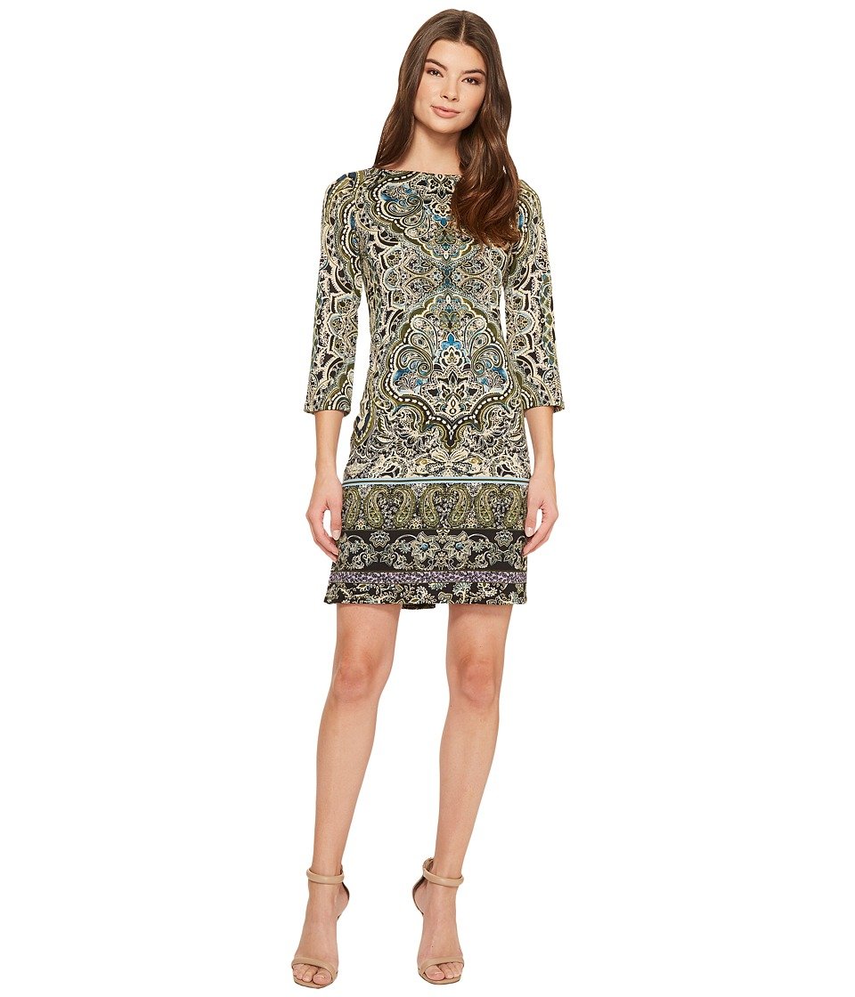 London Times - 3/4 Sleeve Boat Neck Shift (Green Multi) Women's Dress